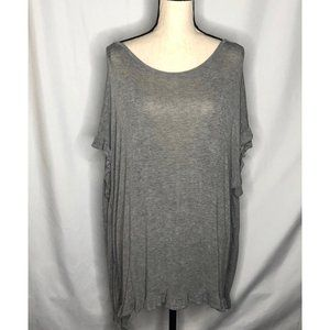 EASEL ANTHROPOLOGIE GRAY RUFFLE TUNIC TOP LARGE